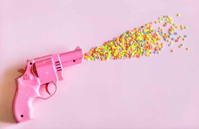 pink revolver gun