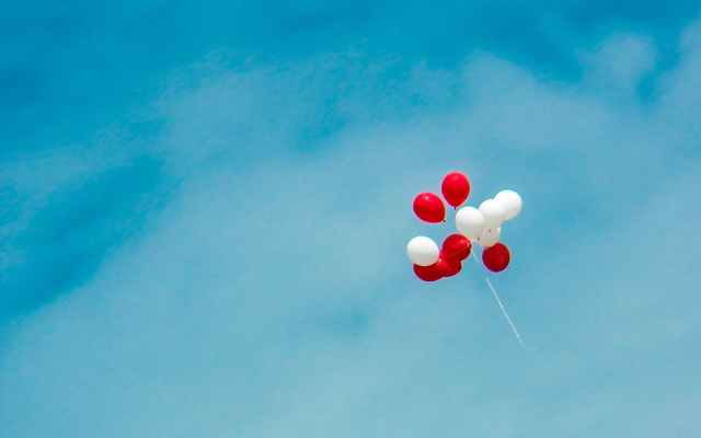 white and red balloons