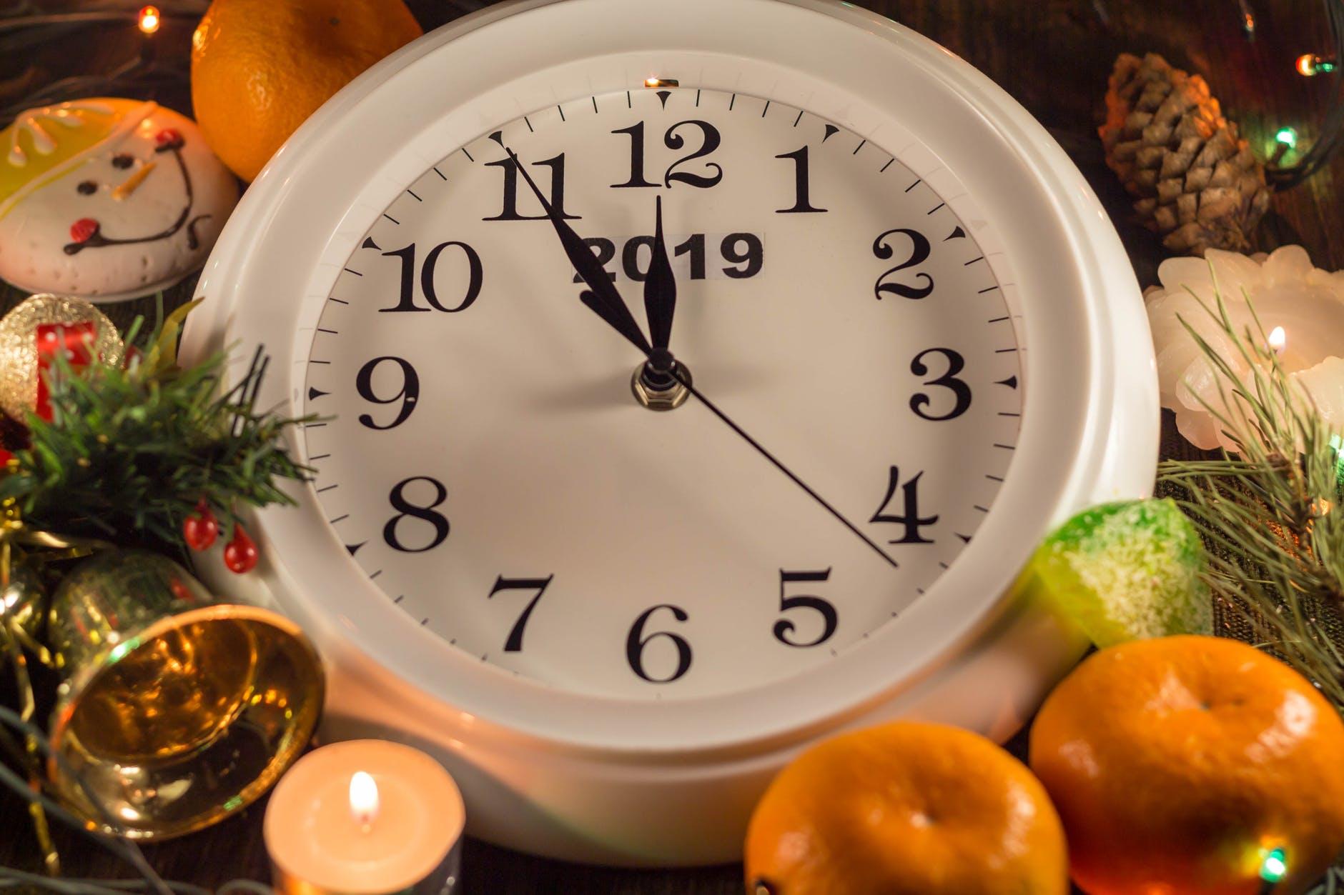 white analog clock